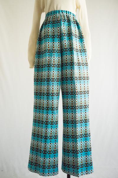 Tetris pattern Light blue Pants