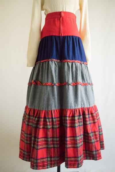 Made In England Check Tiered Skirt