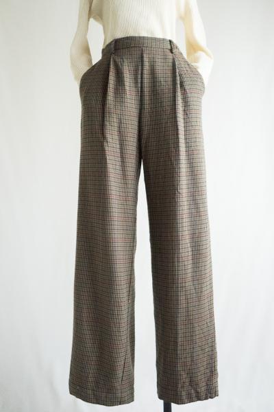 Houndstooth Brown Wool Pants