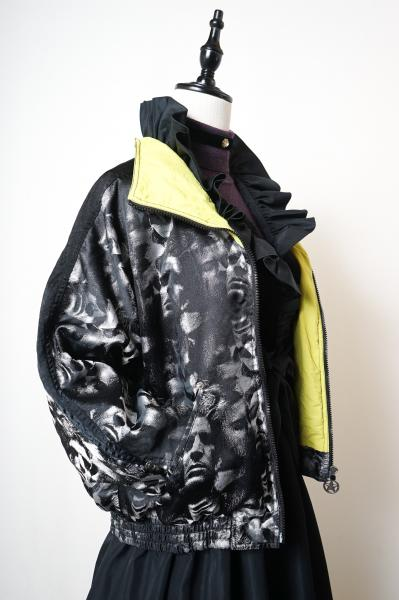 Face Pattern Nylon Zip Jacket