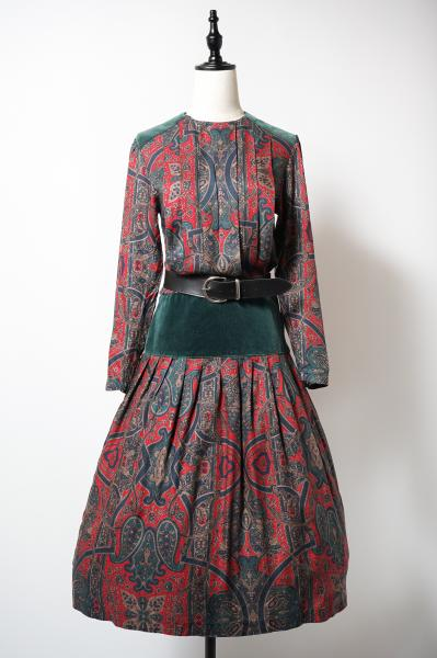 Red×Green Ethnic Paisley Pattern Dress