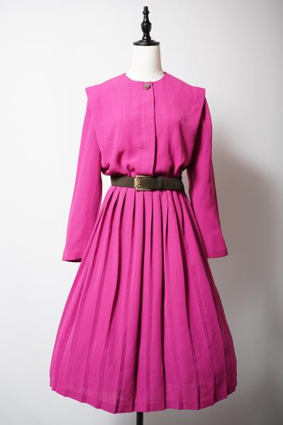LESLIE FAY Berry pink Pleats Dress