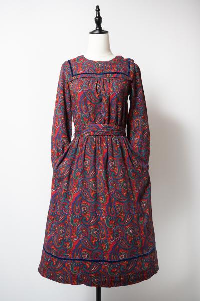 Paisley Pattern Square Collar Red Dress