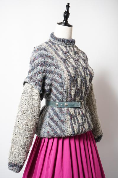 Layered Design Colorful Knitting Sweater