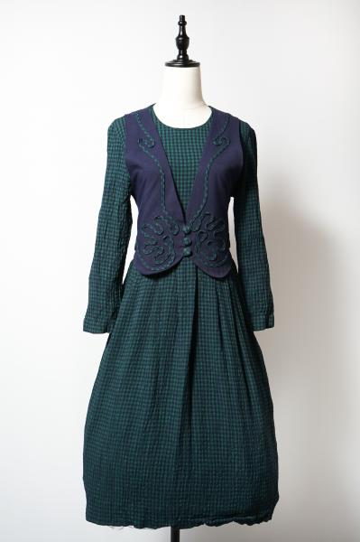 Vest Layered Style Green×Navy Check Dress
