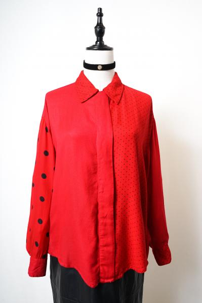 Dot×Simple Red Crazy Pattern Blouse
