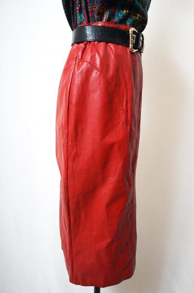 Red Leather Tight Skirt