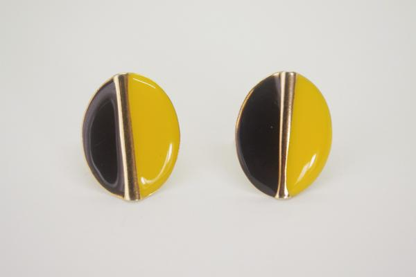 Yellow×Black Bicolor Earrings