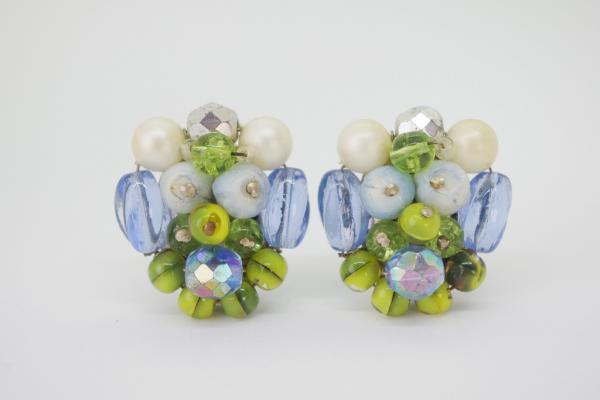 50~60's Blue×Green Beads Earrings