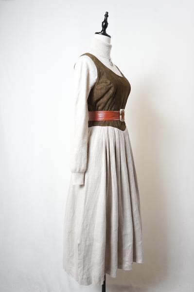 Made In Euro Leather×Linen Tyrol Dress