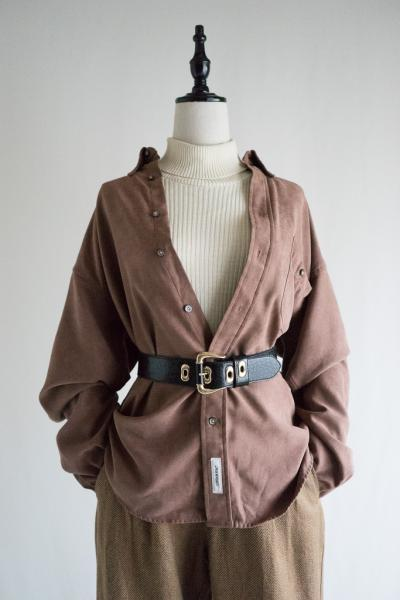 Brown Suede Over Blouse