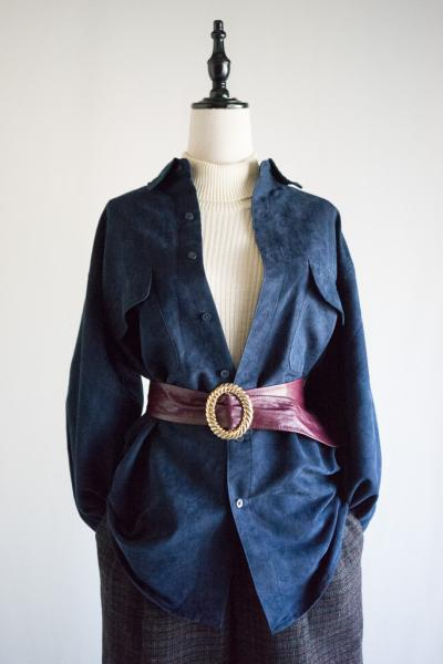 Navy Suede Blouse
