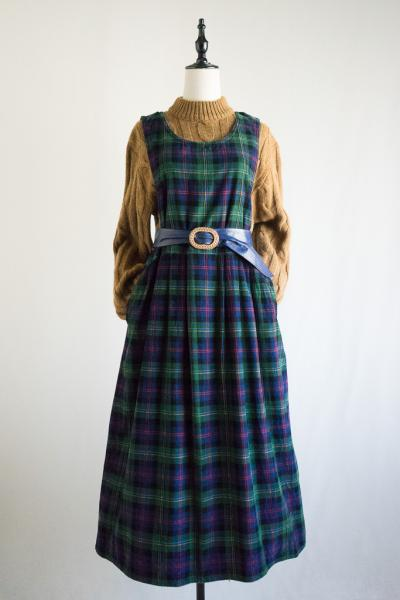 Tartan check Corduroy Over Dress