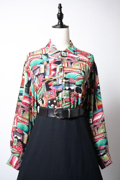 Made In Italy Colorful Art Painting Blouse