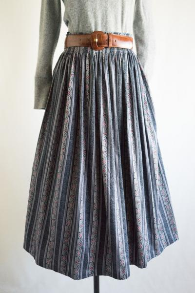 Made In Euro C&A  Art Botanical×Stripe Tyrol Skirt