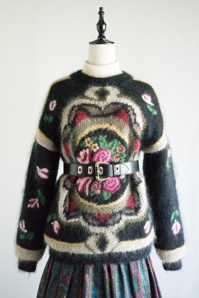 Flower embroidery Design Mohair Sweater