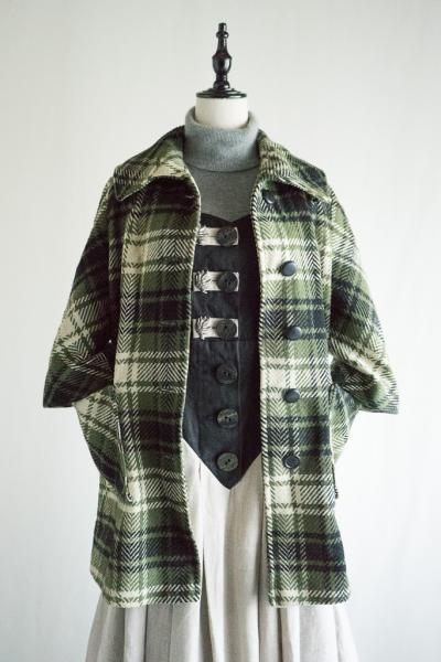 50〜60's Moss green×Black Check Half Coat