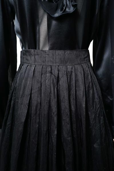 Made In Euro Pleats×Spangle Design Black Skirt