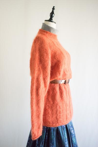 Orange Wave line×Cable Wool Sweater