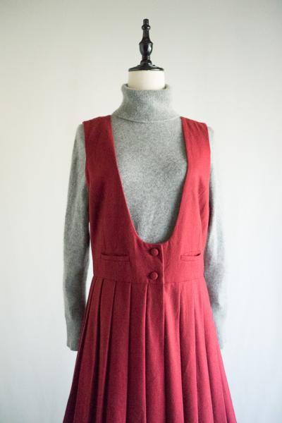 Wine-red Wool Jumper skirt