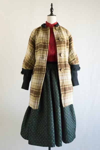 50~60'sPoncho style Check Coat