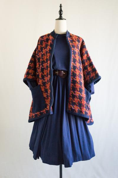 Sleeve box Poncho style Houndstooth Coat