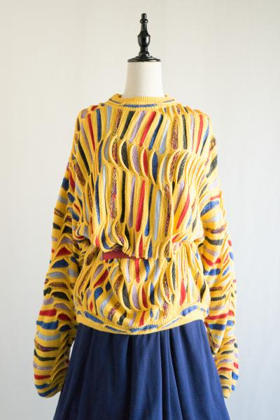 Yellow×Multicolor 3D Sweater