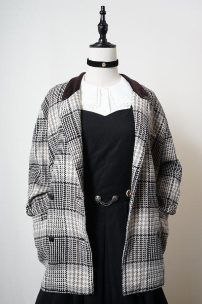 Made In Italy Beige Check Double Jacket