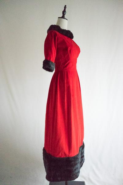 Fur Design Red  Velour Maxi Dress