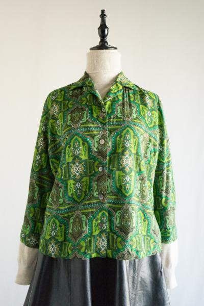 60's Art pattern Open Blouse