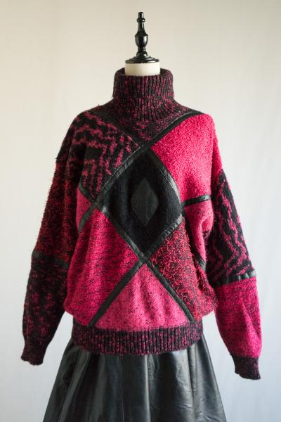Crazy pattern Leather design Sweater