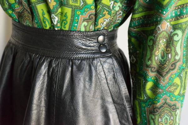 Black Leather Flare Skirt