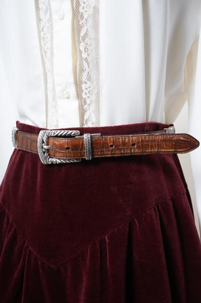 Switching Design Brown×Silver Leather Belt