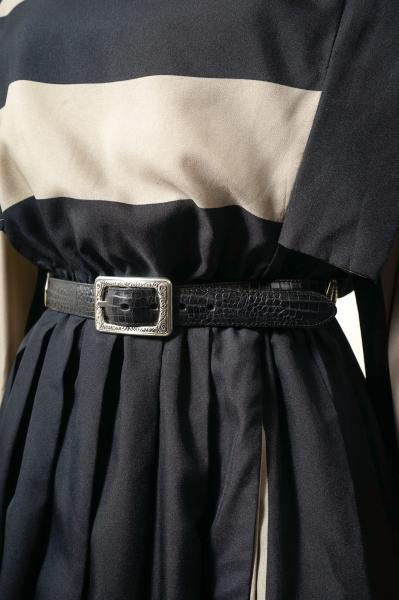 Switching Design Black×Brown Leather Belt