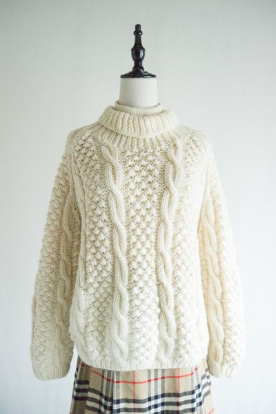 Made In Italy White Fishermans Sweater
