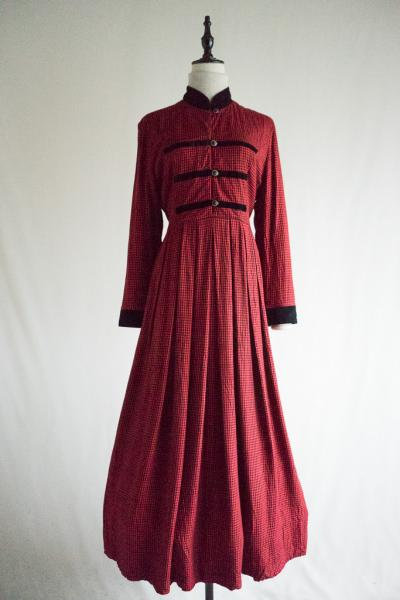 Velour Collar Check Red Dress