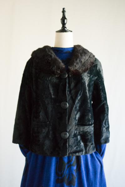 50's Muskrat Fur collar Black Jacket