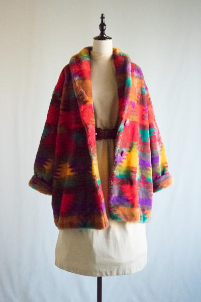 Native style Faux all fur Coat