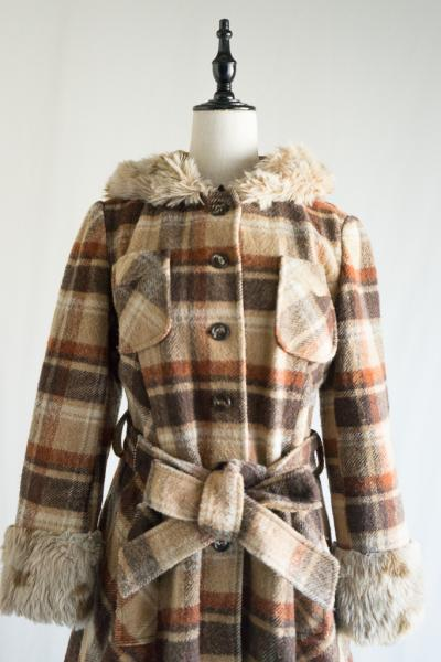 70's Check Flare hoodie Coat