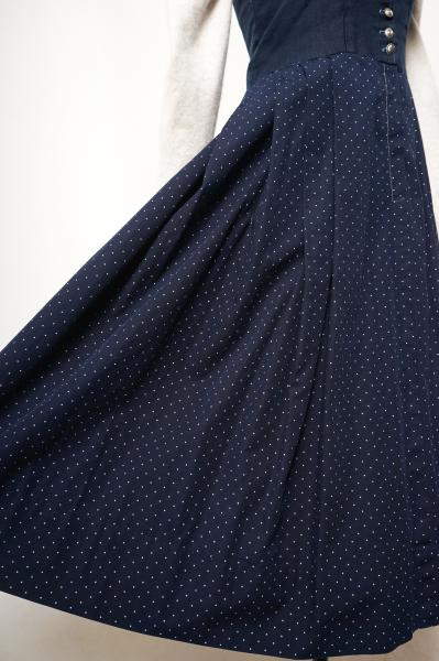 Made In Euro Pin dot×Navy Docking Tyrol Dress