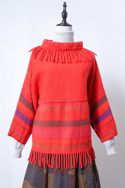 Made In Norway Fringe Design Red Wool Tops